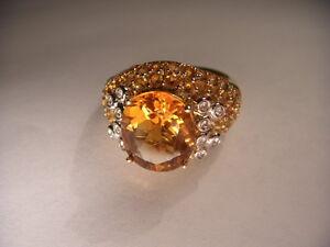 Magnificent Estate 14K Yellow Gold Huge Orange Citrine Diamond Designer Ring