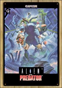 ALIEN vs PREDATOR - Rare Metal Wall Tin Sign Capcom Retro Arcade Game Poster