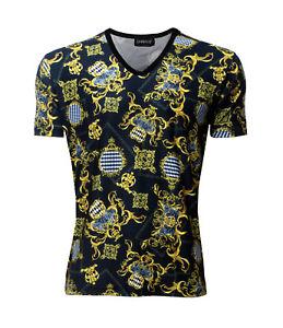 Men's Baroque Zebra Harlequin Floral Damask Scarf Print V-Neck T-Shirt Top Tee