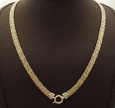 """18"""" Diamond Accent Mirrored Byzantine Chain Necklace Real 14K Yellow Gold"""
