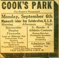 Advertising Cook's Park Evansville Fireworks Boxing Matches Bands Labor Day 1920