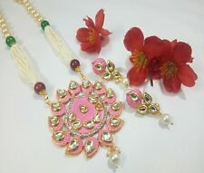 Designer Indian Kundan Necklace With Meenakari Pearls Gold Plated Bridal Jewelry