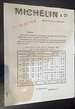 TRES RARE PAPIER MICHELIN BIBENDUM @ BAISSE DES PRIX 1923 @ RARE @ GUIDE TARIF