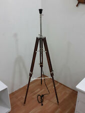 Nautical Tripod Wooden FLOOR LAMP TRANSIT Shade Light Fixture antique old style