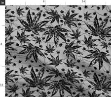 Black And Gray Marijuana Weed Cannabis Grass Fabric Printed by Spoonflower BTY