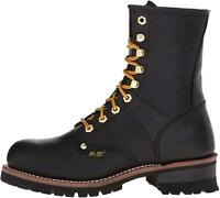 """9"""" Super Logger Soft Toe Boots for Men, Leather Goodyear Welt, Black, Size 6.5 e"""