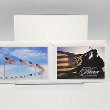 US Military Support Greeting Card Lot 2 America Patriotic Flag Defense