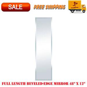 """Full Length Beveled-Edge Mirror 48"""" x 12"""", Easy Mounting, Framed Mirrors, Decor"""