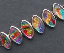 "SOLID 925 STERLING SILVER MASSIVE HEAVY GLASS FOIL BRACELET 7 or 8"""