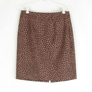 Dark brown abstract cotton blend ANN TAYLOR LOFT pencil skirt 4P