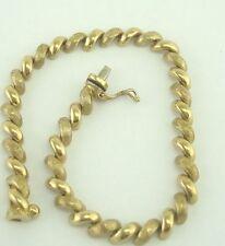Very Nice 14K Yellow Gold Textured San Marco Link 7.25 Inch Bracelet B5316