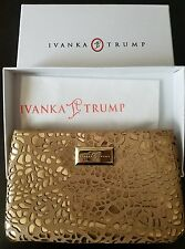 NWT IVANKA Trump Camel Color Leather Gold Metallic Clutch Purse