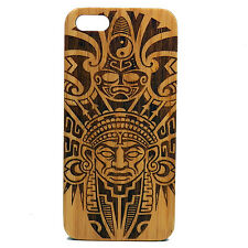 Aztec Pattern Case for iPhone 7 Bamboo Wood Cover Tribal Warrior Mask