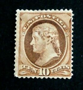 1882 US S# 209, 10c Jefferson, brown Stamp, MPH OG