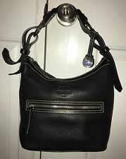 Dooney & Bourke Genuine Black Pebbled Leather 1975 Signature Hobo Bag Purse Tote