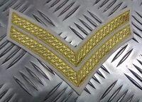 Genuine British Army Braided Corporal Rank Stripes 2 Chevrons Gold on White EPB5