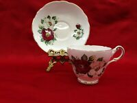 Regency Red and White Flowered Bone China Tea Cup And Saucer Set