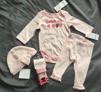 GYMBOREE BRAND NEW BABY PINK STRIPE AIR BALLOON L//S BODYSUIT Preemies 0 3 6 NWT
