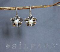 ❤️Silpada LOVE BLOOM Israel sterling silver EARRINGS W1768 Pearl Flower Oxidized