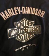 HARLEY-DAVIDSON Black Nylon Bomber Jacket Mesh Lining Embroidered Logos Size XL