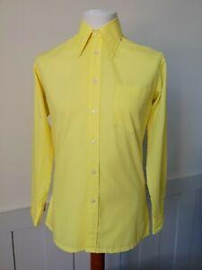 Vintage 1970s Long Sleeve Shirt in Yellow Polycotton Mod Geek  *M* TB26