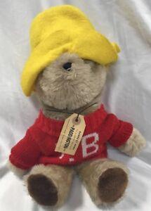 "Paddington Bear Plush 1981 Eden Toys Stuffed Animal P.B. Red Sweater Hat Vtg 16"""