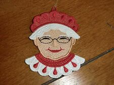 Embroidered Ornament - Christmas - Mrs. Claus Face