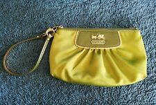 Coach Green & Gold Satin & Leather Amanda Clutch Wristlet Handbag Purse #42032