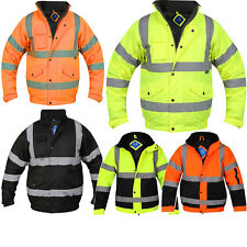 HI VIZ VISIBILTY BOMBER REFLECTIVE CONTRACTOR SECURITY WORK MENS JACKET