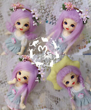 "New 3""-4""9-10cm BJD Purple Fabric Fur Wig For AE PukiFee Lati 1/12 Doll BJD Wig"