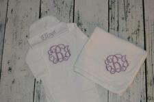 CUSTOM PERSONALIZED Baby Gown Hat & Receiving Blanket Set Monogrammed Baby Girl