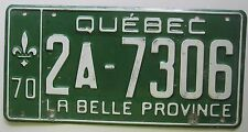 Quebec 1970 License Plate NICE QUALITY # 2A-7306
