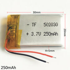 3.7V 250mAh 502030 Lipo Li-Polymer Rechargeable Battery For Bluetooth GPS MP3