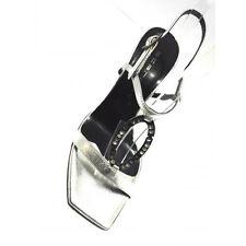 Scardavi Sandalo Donna Gioiello Elegante Tacco 85 scoplito Vera Pelle silver