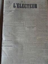 L'Electeur 1891 Journal de l'Union Conservatrice du Gers