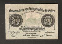 Austria Kassenschein d. Stadtgemeinde St Polten 20 heller 1919 Austrian Notgeld