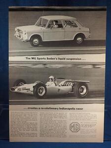 Vintage Magazine Ad Print Design Advertising MG Sports Sedan Car