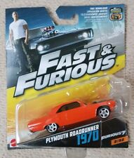 FAST AND FURIOUS DIECAST TOY CARS - PLYMOUTH ROADRUNNER 1970- MATTEL 2/32
