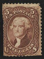 USA: 1861 5c Brown JEFFERSON - MNG - CV £140 c$161.50 US