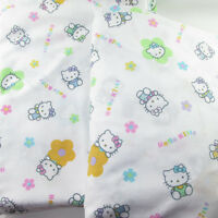 Hello Kitty Sanrio Flat Fitted Sheet 2001 92 X 66 Fabric Material Craft