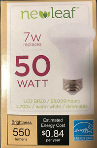 NewLeaf 50W Energy Star. BR20, Warm White, Reflector, Dimmable 7W LED - 6 Bulbs