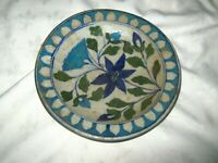 A Vintage Blue Salt Glaze Floral Decorated Stoneware Pottery Bowl