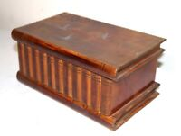 antique hand carved wood book shaped style jewelry vanity puzzle box casket