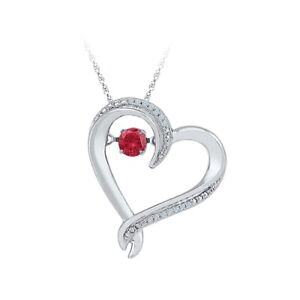 """Red Ruby Heart Dancing Pendant 18"""" Chain 14K White Gold Over 925 Sterling Silver"""