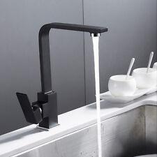 Designer Square Bathroom Kitchen Sink Mixer Taps Black Brass Monobloc Tap