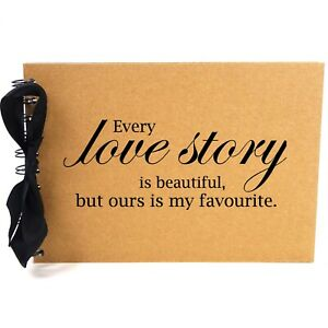 Ribbon, Love Story, Photo Album, Scrapbook, Blank White Pages, A5