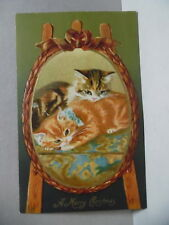 PC- 181 CHRISTMAS POSTCARD - KITTENS PICTURE ON EASEL - GERMANY - EMBOSSED