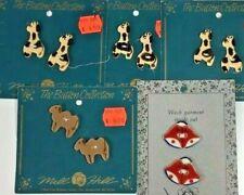 Vintage Ceramic Sewing Button Lot Giraffe Bell on Card Mill Hill Dogwood Lane