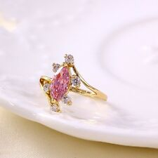 18K Yellow Gold Filled  Fashion Ring with Pink White Cubic Zirconia Size 8 US