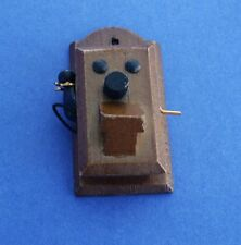 Miniature Dollhouse Vintage Wood Wall Phone 1:12 Scale New